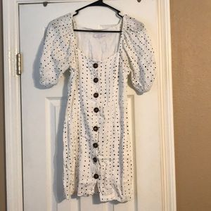 White button up dress with pouf sleeves